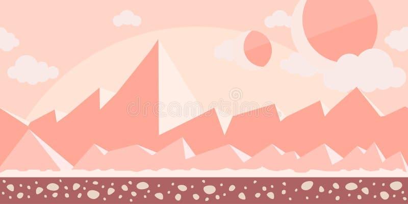 比赛或动画的无缝的无止境的背景 行星火星或有山的岩石沙漠的表面在 皇族释放例证