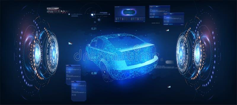 比赛或录影构思设计的未来派汽车 计算机游戏概念 HUD UI 抽象真正图表接触用户界面 皇族释放例证
