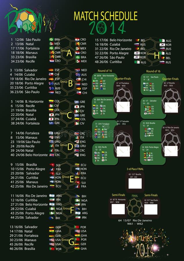 比赛日程表世界杯2014年 免版税图库摄影