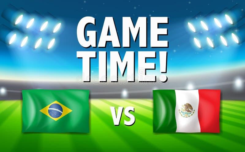 比赛时光巴西对墨西哥模板 库存例证