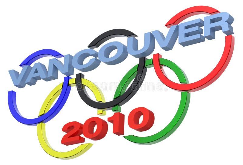 比赛查出的奥林匹克符号温哥华白色 皇族释放例证