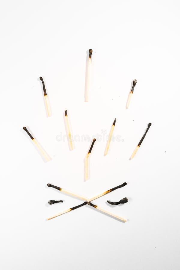 比赛棍子宏观细节火标志安全白色被隔绝的Backg 免版税库存图片