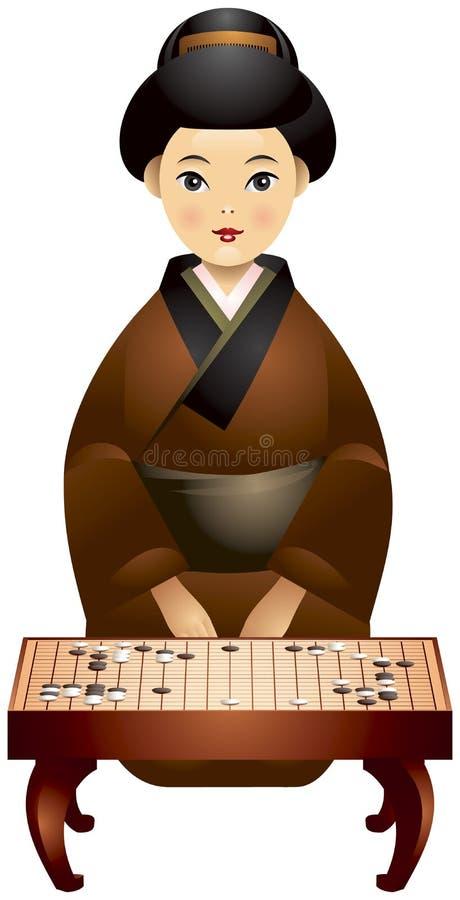 去比赛球员日本人女孩 库存例证