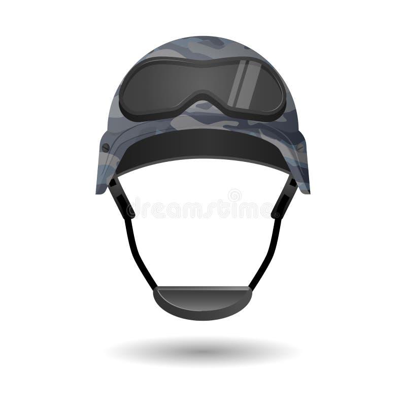 比赛的军用设备 与玻璃headwear元素的盔甲 库存例证