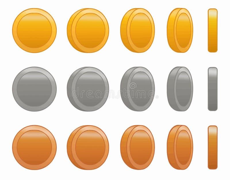 比赛硬币动画集合传染媒介例证 库存例证