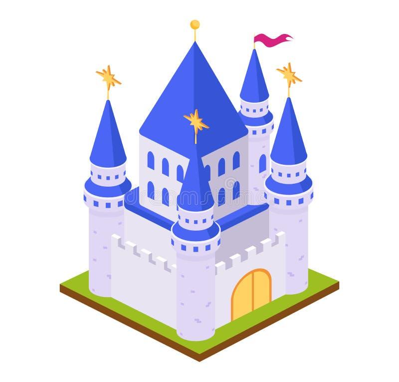 比赛神仙的砖城堡堡垒,有围拢的风景的 向量例证