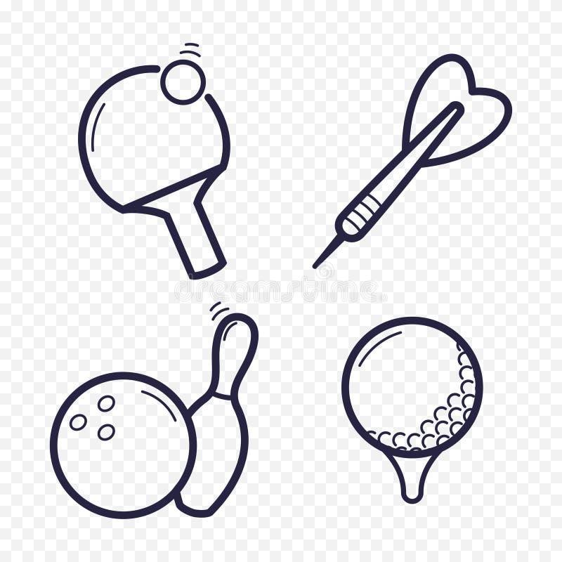 比赛线性象 乒乓球,高尔夫球,保龄球,投掷娱乐活动 赌博,体育比赛线象 皇族释放例证