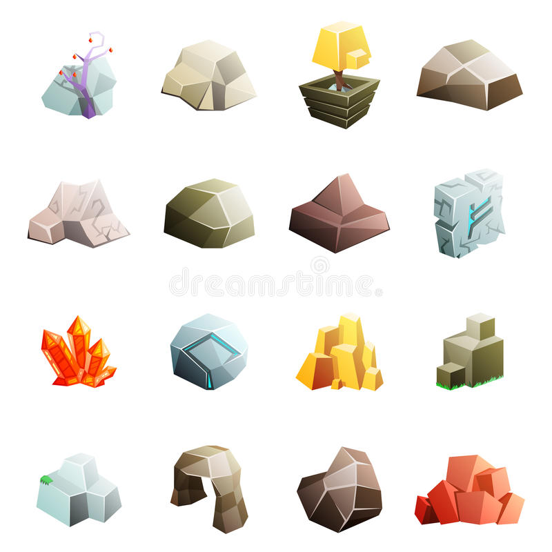 比赛艺术环境低多岩石石头冰砾洞cristal诗歌动画片等量3d平的样式象设置了传染媒介 皇族释放例证