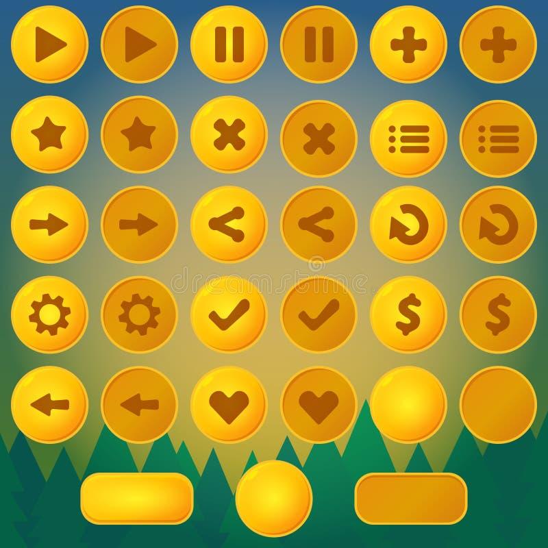 比赛菜单传染媒介黄色ui按钮 向量例证
