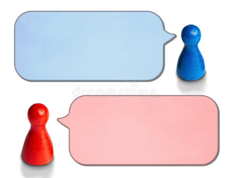 比赛计算与在白色背景的有角度的讲话泡影 讨论的,闲谈,通信概念 库存照片