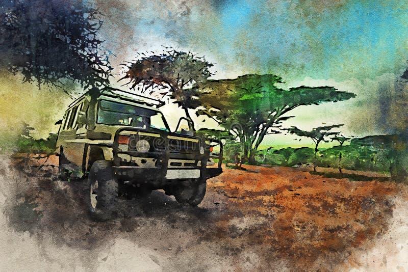 比赛驱动的徒步旅行队车在非洲大草原 免版税库存图片