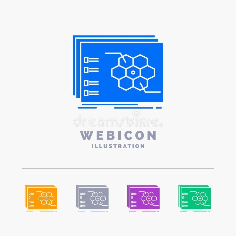 比赛,战略,战略,战术,在白色隔绝的作战5种颜色纵的沟纹网象模板 r 库存例证