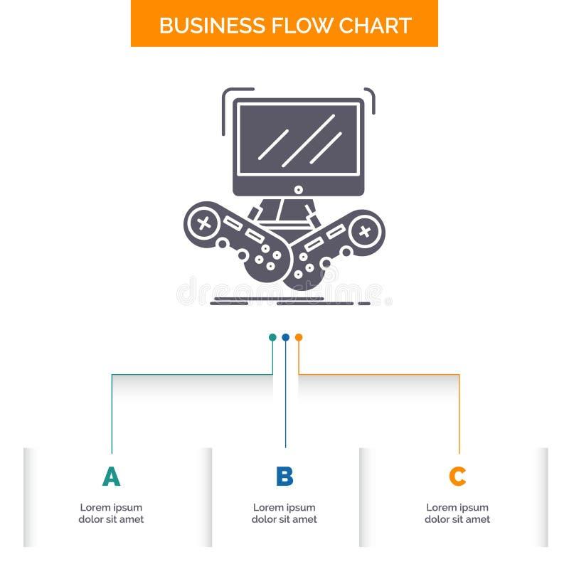 比赛,赌博,互联网,与3步的多功能单放机,网上企业流程图设计 r 向量例证