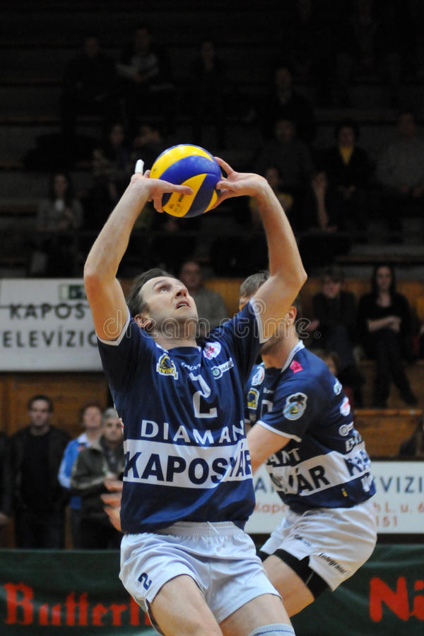 比赛kaposvar mladost排球萨格勒布 免版税库存图片