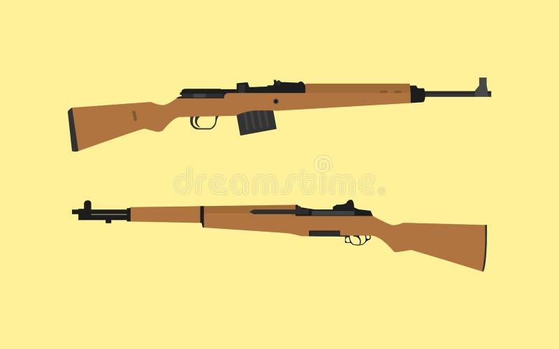 比较对对在美国美国m1 garand浅滩之间对gewehr 43德语 向量例证