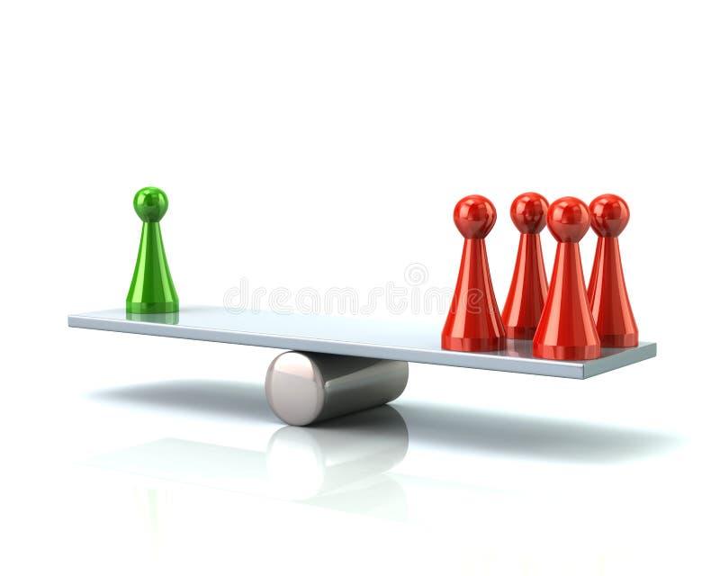 比较评估重量平衡3d例证 库存例证