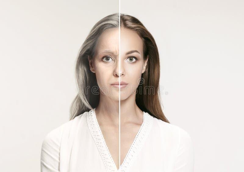 比较 美丽的妇女画象有问题和干净的皮肤、老化和青年概念的,秀丽治疗 库存图片
