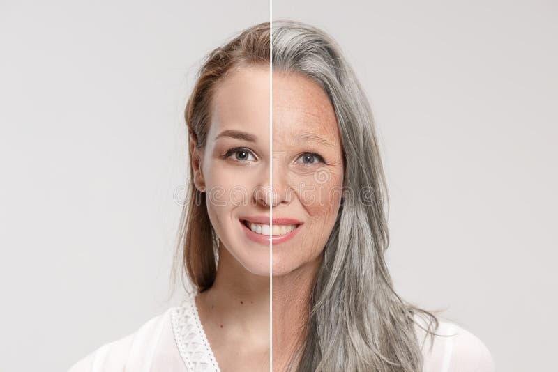 比较 美丽的妇女画象有问题和干净的皮肤、老化和青年概念的,秀丽治疗 免版税库存图片