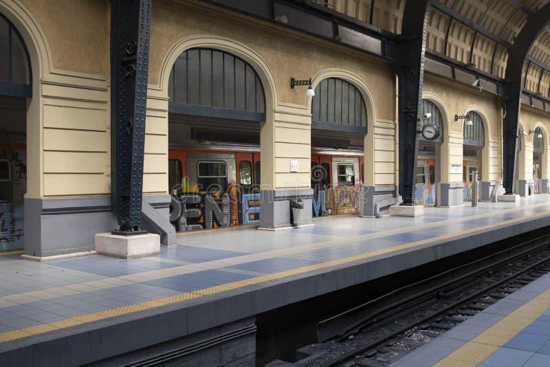 比雷埃夫斯南部的火车站终点 库存图片