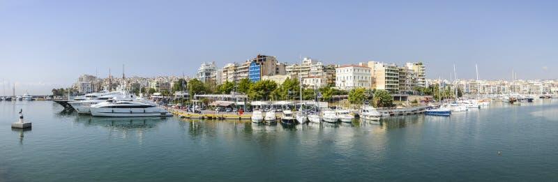 比雷埃夫斯玉蜀黍属海湾,雅典,希腊全景  库存图片