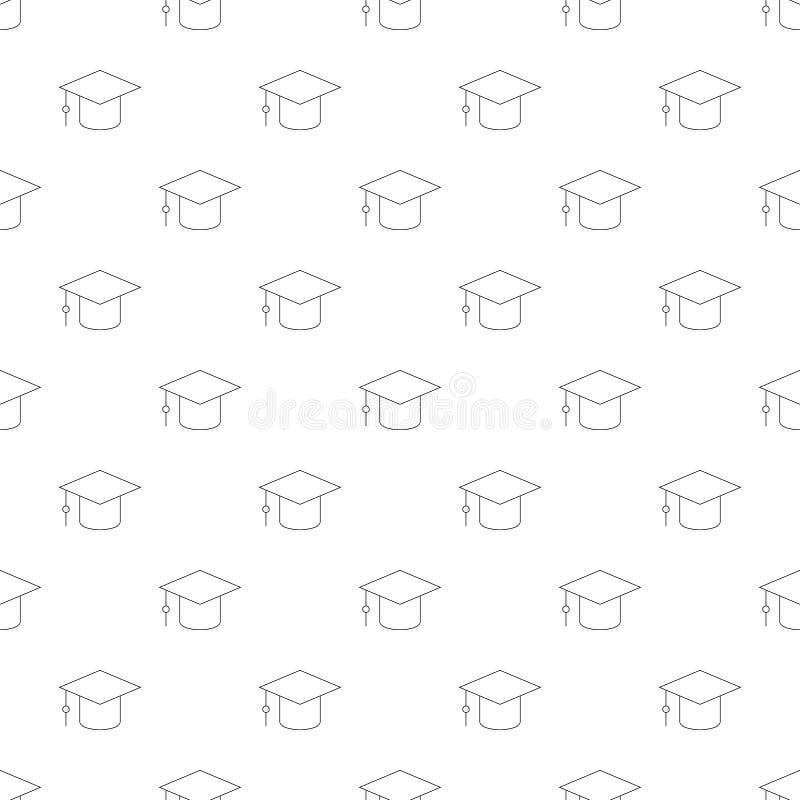 毕业从线象的帽子背景 库存例证