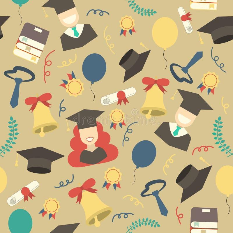 毕业元素无缝的样式背景 向量例证