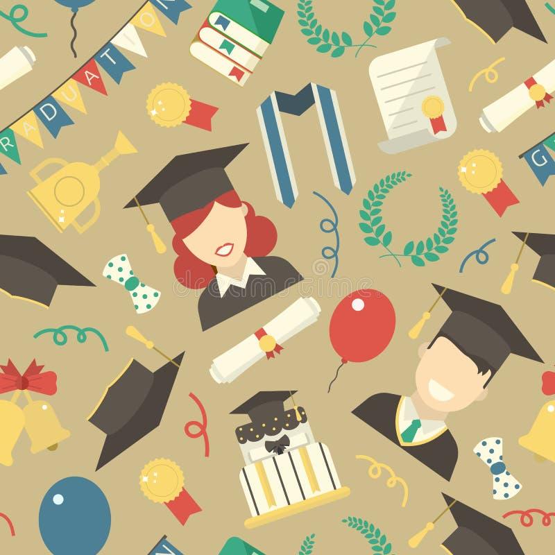 毕业元素无缝的样式背景 库存例证