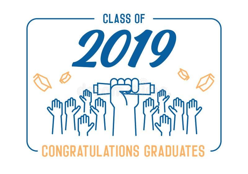 毕业典礼举行日 2019年庆祝类  庆祝和投掷他们的学术帽子的毕业生入空气 院的末端 向量例证