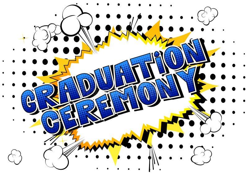 毕业典礼-漫画书样式词 向量例证