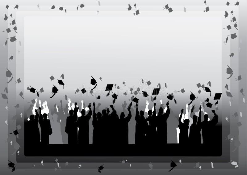 毕业剪影 向量例证