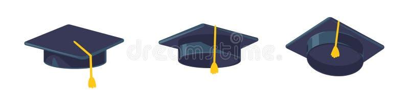 毕业在白色背景隔绝的盖帽传染媒介,有缨子平的象的,学术盖帽,毕业盖帽毕业帽子 皇族释放例证