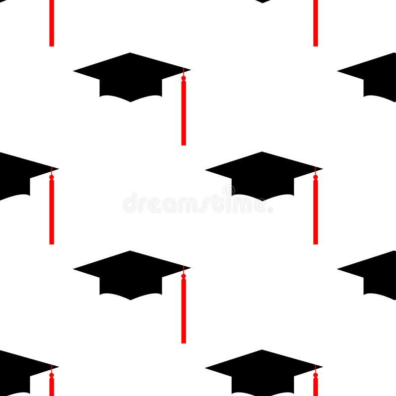 毕业帽子商标模板设计元素 在空白背景查出的向量例证 无缝的模式 皇族释放例证