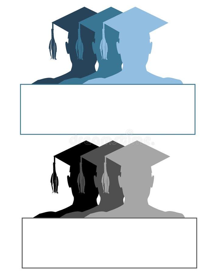 毕业帽子标记徽标 库存例证