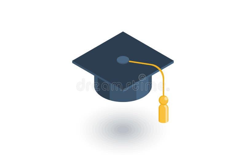 毕业帽子等量平的象 3d向量 库存例证