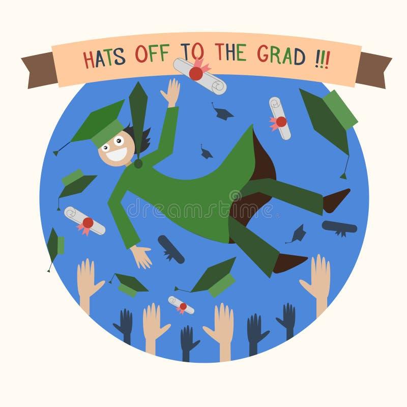 毕业愉快的学生、盖帽和文凭扔上流 皇族释放例证