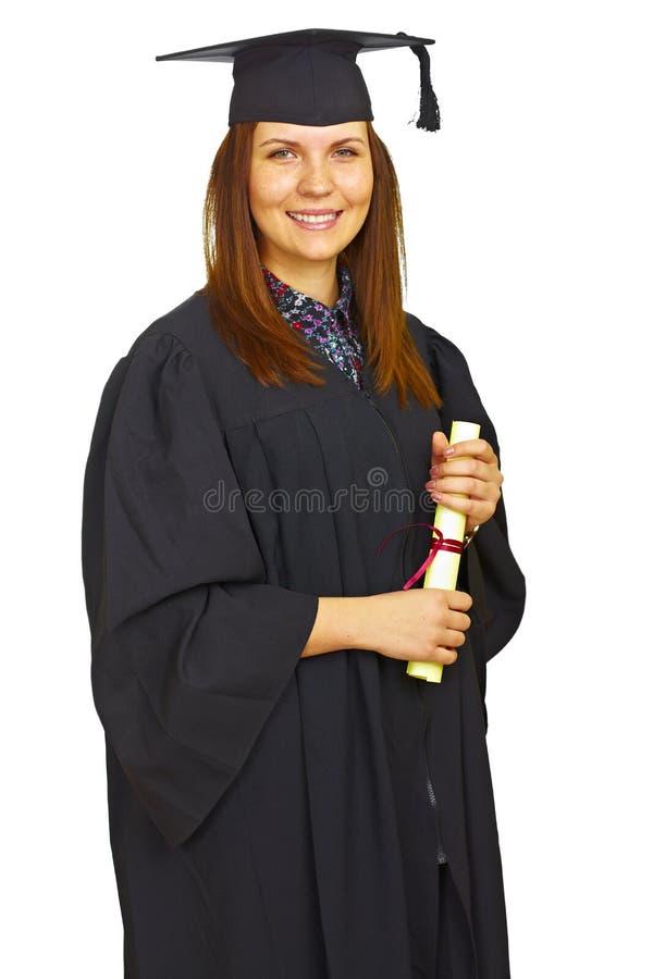 毕业愉快的查出的学员 免版税库存照片