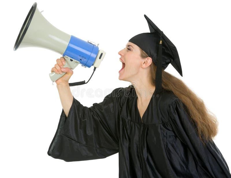 毕业扩音机呼喊的学员 图库摄影