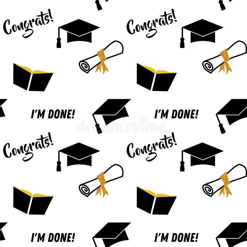 毕业无缝的样式 毕业晚会或仪式邀请的黑和金黄传染媒介背景,招呼 库存例证