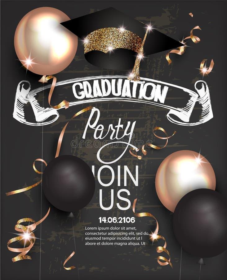 毕业晚会与金黄serpantine、毕业盖帽、气球和黑板背景的邀请卡片 向量例证