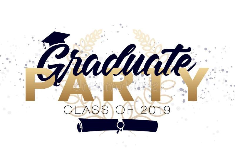 毕业标签 毕业设计、祝贺事件、党、高中或者大学毕业生的传染媒介文本 库存例证