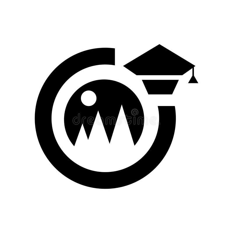 毕业照片象在白色背景和标志隔绝的传染媒介标志,毕业照片商标概念 向量例证