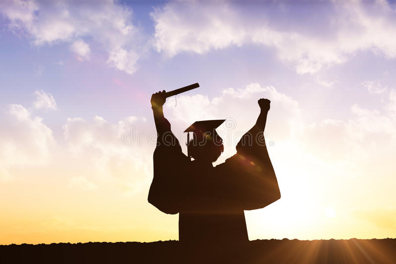 毕业生剪影的综合图象  免版税图库摄影