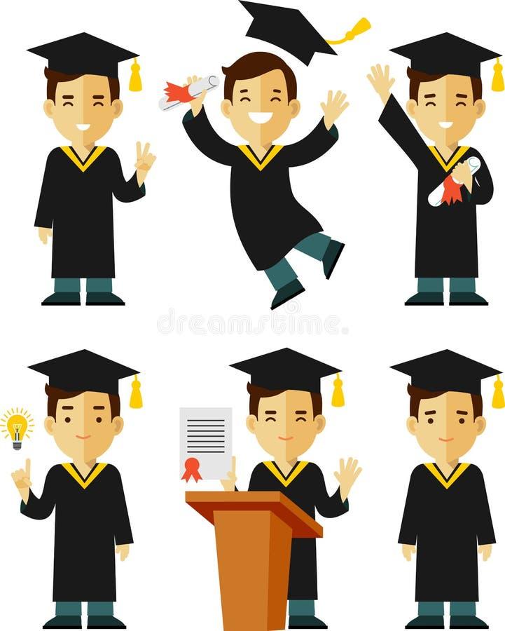 毕业生字符集 向量例证
