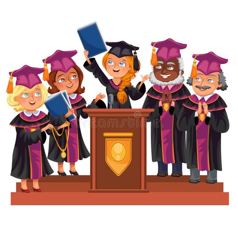 毕业生庆祝教育精整  愉快的男孩和女孩褂子和盖帽的有老师的庆祝仪式的 向量例证