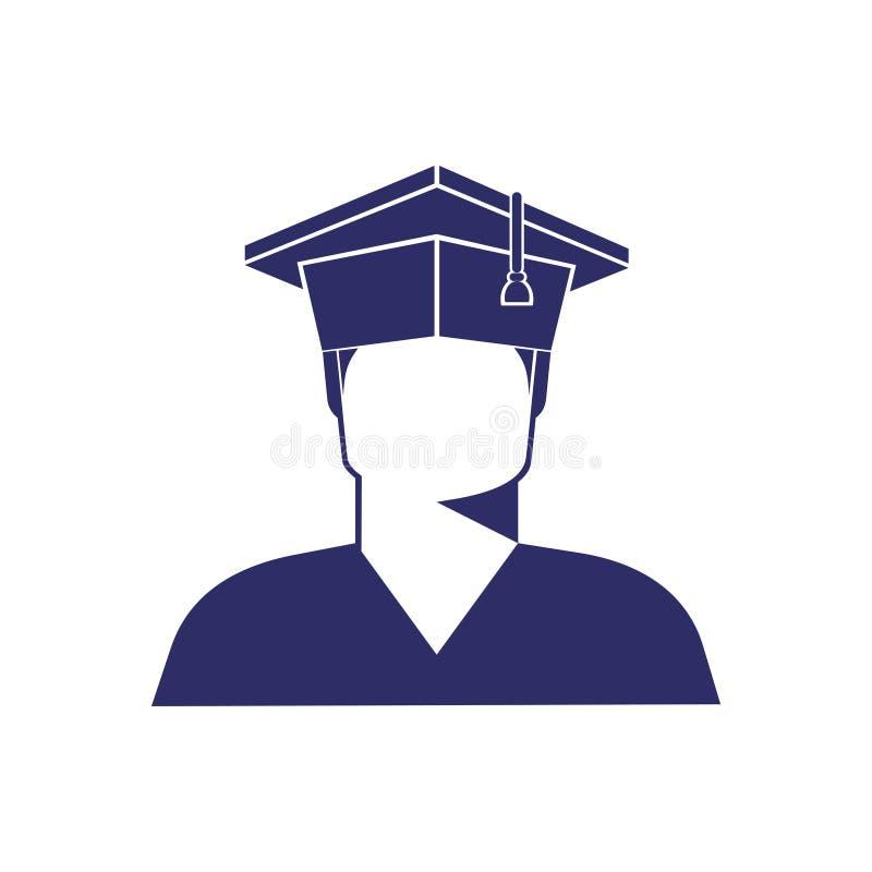 毕业生盖帽单色图象的,象男孩学生 库存例证