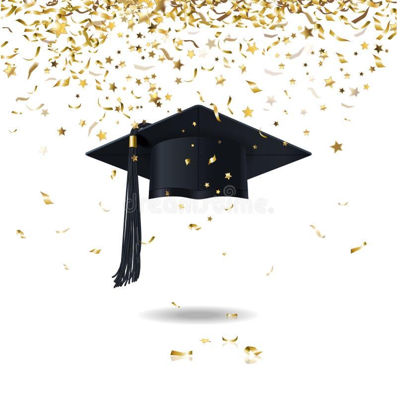 毕业生盖帽和五彩纸屑 库存例证