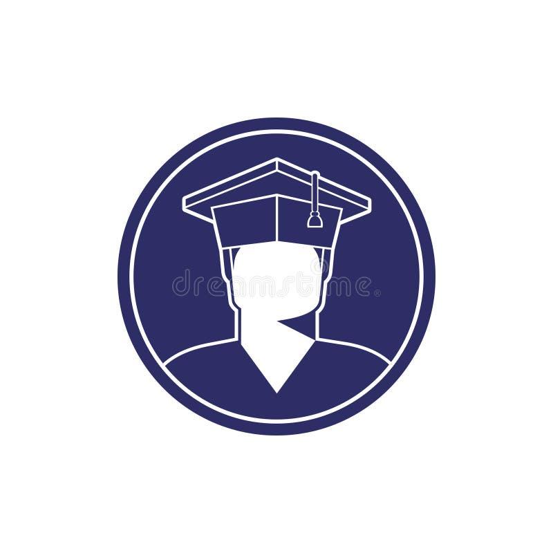 毕业生盖帽黑白照片的男孩学生 库存例证