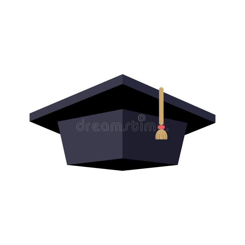 毕业生盖帽,颜色被隔绝的图象 向量例证