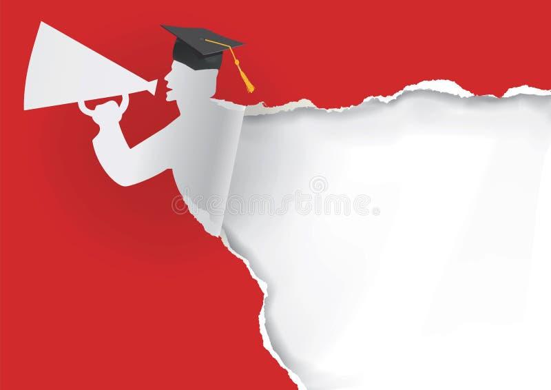毕业生纸剪影  向量例证