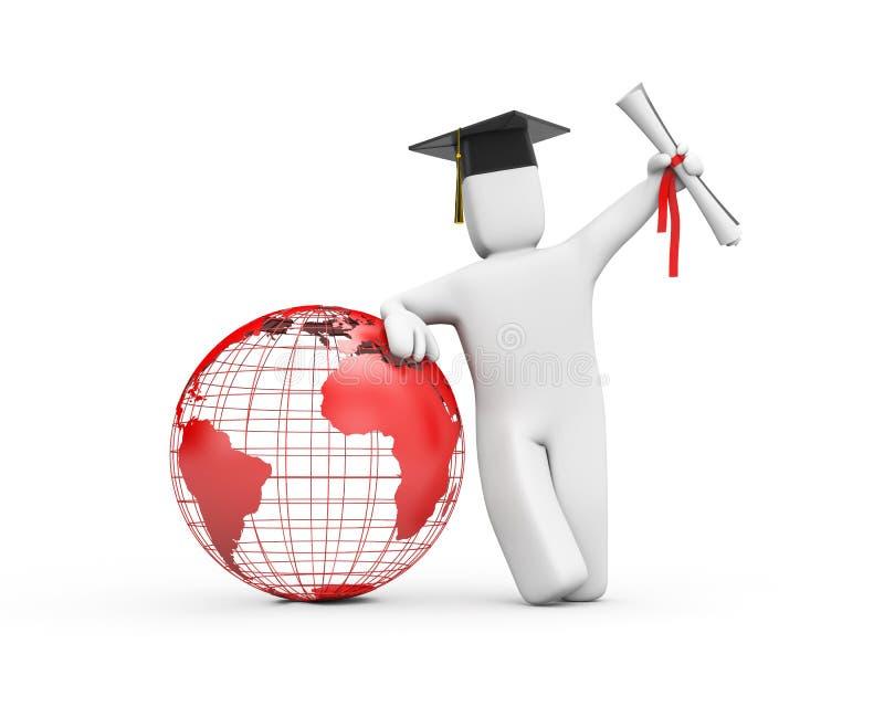 毕业生被开张的世界您 向量例证